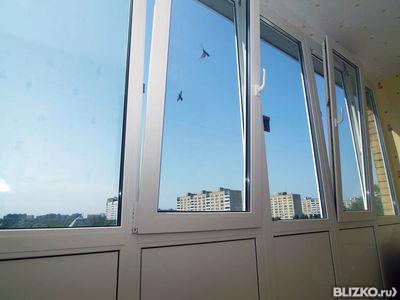 Остекление балкона, рама пвх двухкамерный стеклопакет - 6 ме.