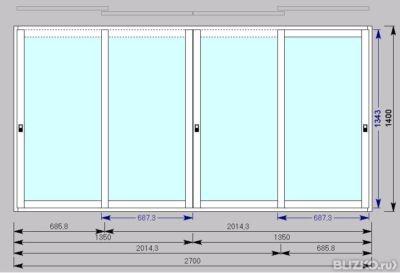 Окно раздвижное на балкон алюминий 2700*1400 от компании гри.