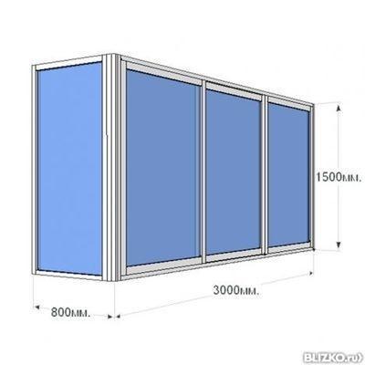 Алюминиевые окна на балкон 3 м (3 ств. г образного типа ) ал.