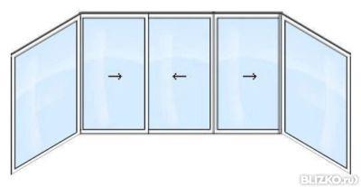Алюминиевые окна на балкон 6 м (6 ств. п образного типа) алю.